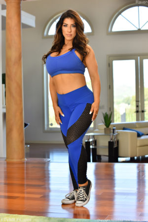Sporty MILF Raven Poses In Her Workout Gear Then Strips Out Of It To SHow Her Big Tits