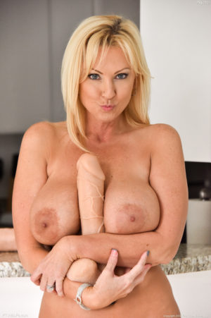 Nasty horny blonde MILF Alysha fucks every hole with everything around her