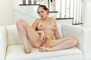 Sexy curvy mom with big boobs Nickey fingering her hairy pussy for the camera