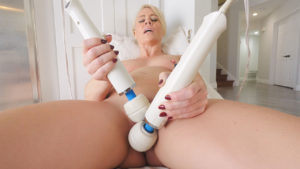 Blonde sex addict Helena playing with multiple toys