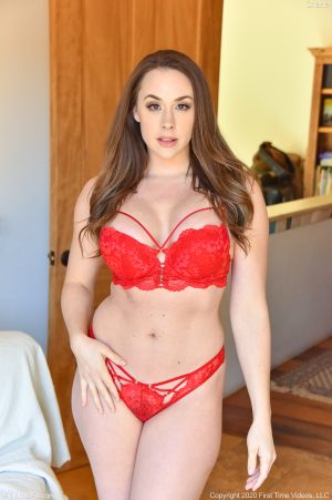 Brunette beauty Chanel in and out of her hot red lingerie