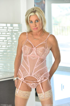 Naughty 50 plus blonde mom Payton in sexy pink lingerie buzzing her shaved pussy