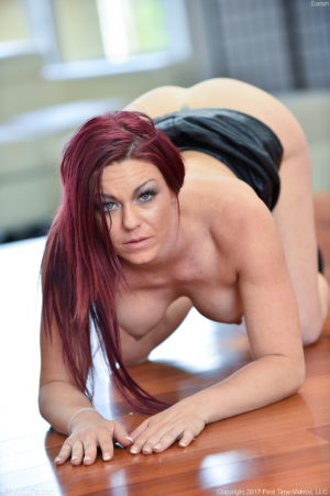 Dirty dyed redhead MILF spreads her shaved pussy on the floor